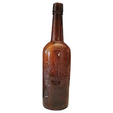 Rare Amber Spruance Stanley & Co Whiskey Bottle - San Francisco - Great Condition