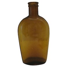 "1866-1888 Antique Lyndeboro Glass Company Amber Liquor Flask Bottle - 6 1/8"" Tall"