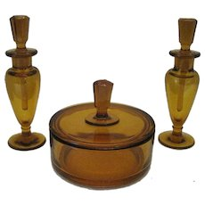 Beautiful - 1895 Amber Glass Vanity Set