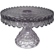 Light Purple Diamond Pattern Round Glass Cake Stand - American Fostoria