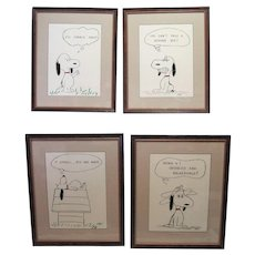 Lot of (4) Framed Snoopy Comics Signed KW
