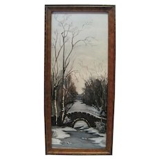 Watercolor Winter w/Covered Bridge & Antique Wooden Frame