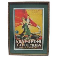 Vintage Grafofoni Columbia Poster - 1920's Giclee w/Ornate Frame