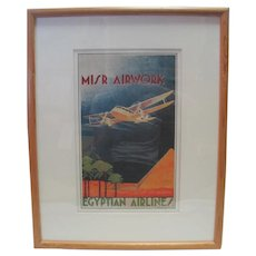 N. Strekalovsky - MISR Airwork - Egyptian Airlines Lithograph in Colours, C. 1932