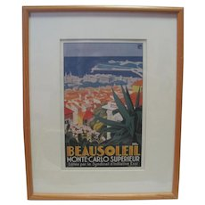 Roger Broders C. 1928 Beausoleil, Monte-Carlo Superieur Lithograph in Colours, Poster