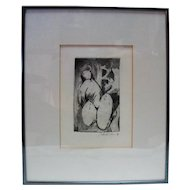 "Lucille Lucas ""Rock Woman"" '87 Etching Signed in Pencil"