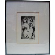 """Lucille Lucas """"Rock Woman"""" '87 Etching Signed in Pencil"""