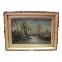 Antique Late 1800's Oil on Canvas - Waterway/Tree Scene w/Gold Gilt Wooden Frame