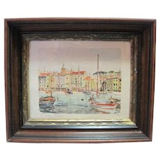 Herbelot - St. Tropez- Watercolor Lithograph - Leport 32/30 w/Wooden Frame
