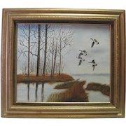 Betty Watson Oil on Canvas - Lake Scene w/Geese Flying - Prof. Framed