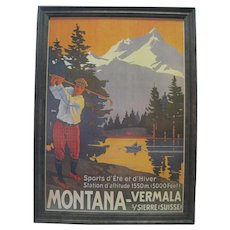 "Prof. Framed Montana-Vermala s/Sierre (Suisse) Poster - 27"" High"