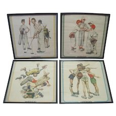 Set of (4) Framed Norman Rockwell 1951 Seasons Lithographs w/Borders