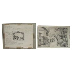 Rare Collection - Ella Ely Signed Etchings On Paper - One w/Footnotes in Pencil