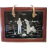 Pair of (2) Chinese Framed Black Cinnabar w/Mother of Pearl Art Works