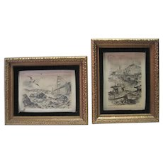 Alec Stern - Pair of Etchings in Ornate Gold Gilt Frames
