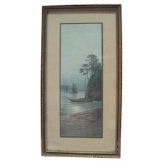 Prof. Framed/Matted Watercolor of Ships on a Coast w/Moon