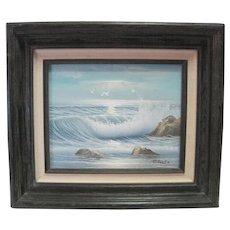 Prof. Framed C. Gaba Oil Painting on Canvas Seascape