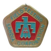 Field Testing Sandia Corporation Brass Plate - 30 Yr. Commem. w/Turq. Bird Eagle - New Mexico