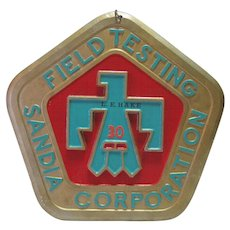 Field Testing Sandia Corporation Brass Plate - 30 Yr. Commem. w/Turq. Bird Eagle - New Mexico