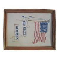 1940's 48-Star God Bless Hand Stitched Embroidery on Linen - Framed