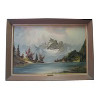 Oil on Canvas - Mountain Scene w/Lake - A. Wilmer