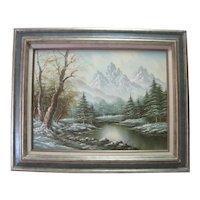 Gerohna - Oil Painting on Canvas - Mountain Scene w/Lake