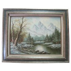 Gerohna - Oil Painting on Canvas - Mountain Scene w/Lake
