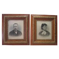 Pair of 1800's Charcoal/Pastel Man & Wife - w/Ant. Wooden Gold Gilt Metal Frames