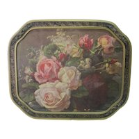 Late 1800's Floral Print w/Wooden Ornate Frame