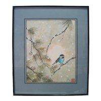 Japanese Watercolor w/Bluebird - Artist John