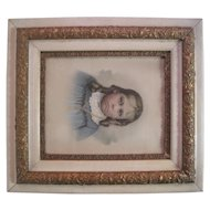 1800's Pastel of Catholic Girl - Wooden Ornate Gold Gilt Frame