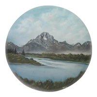 "Original Acrylic Painting - Kepler@80 - Mountain/Lake Scene - 41 3/4"" Diameter"