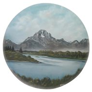 "Original Acrylic Painting - Kepler@80 - Mountain/Lake Scene - 41 3/4"" Diameter"