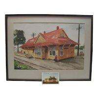 H. Mayne Original Watercolor - Carlsbad Train Depot w/Orig. Photo