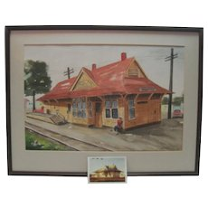 H. Mayne Original Watercolor - Carlsbad Train Depot w/Orig. Photo
