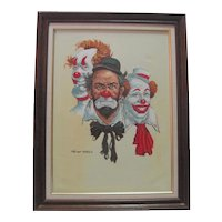 Framed - Signed Oil on Canvas - Clowns