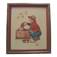 C. Carson Oil on Canvas - Boy & Dog For Sale