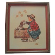 C. Carson Oil on Canvas - Boy & Dog For Sale