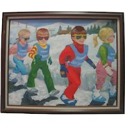 """H. Watters Oil on Canvas - """"Off To Ski School"""""""
