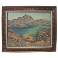 Oil on Board By Margret Sexton - Mountain/Lake Scene
