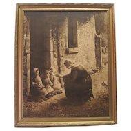 Old Framed Print - Woman Giving Children Medicine