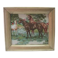 Old Horse Needlepoint/Embroidery - w/Ornate Frame