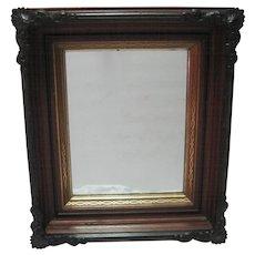 Metal Ornate Oak Framed Shadowbox Mirror