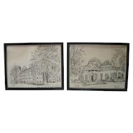 "Set of (2) Ink on Paper ""Monticello House of Thomas Jefferson"" & ""Nathan Hale Hall"""