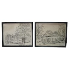 """Set of (2) Ink on Paper """"Monticello House of Thomas Jefferson"""" & """"Nathan Hale Hall"""""""