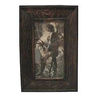 1890's B & W Knight & Stallion Print w/Oak Frame