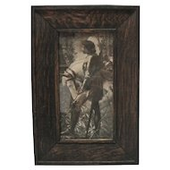 1890's B & W Knight & Stallion Print w/Oak Frame
