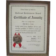 1937 USA Railroad Retirement Board Certificate of Annuity w/Gold Seal