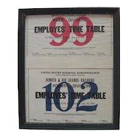 Original 1919 Denver & Rio Grande Railroad - Third/Fourth Division Employes' Time Table Books