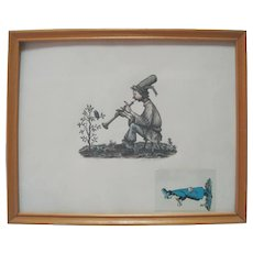 Philip Reed - Ink & Colored Ink Comic Framed